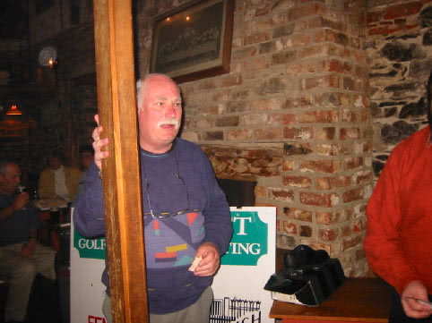 Stringfellow's newest recruit, Terry Hobdell tries out pole dancing in the Schooner
